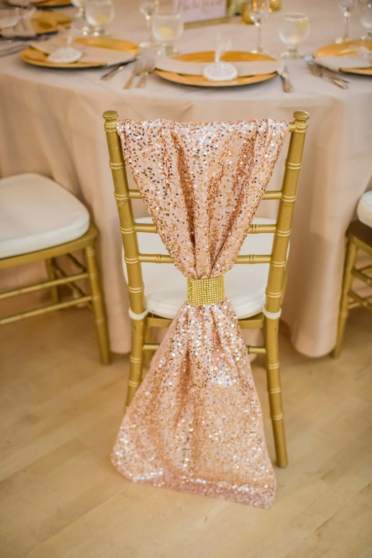 Rose gold wedding inspiration onewed rose gold ruffly wedding chair - Featured Wedding A Chico Event Center Wedding By Katelyn Owens Photography Chair Back Coverschair Backsgold
