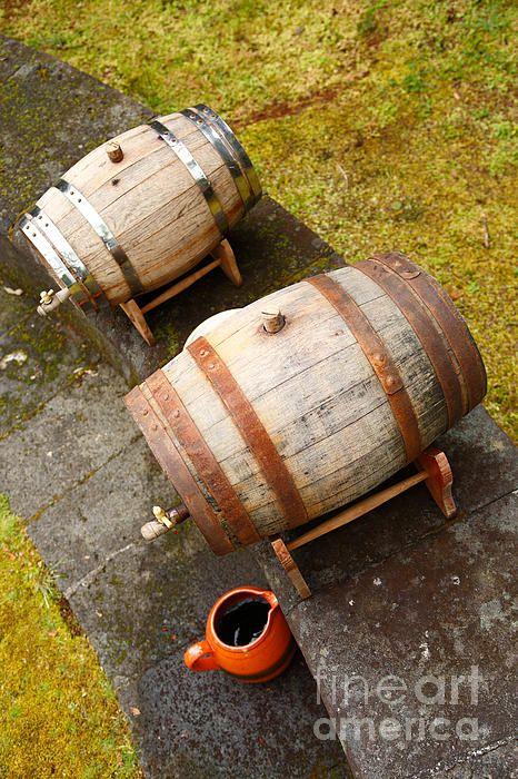 Wine barrels, vineyards of Sao Miguel Island, northeastern Azores Islands, Portugal