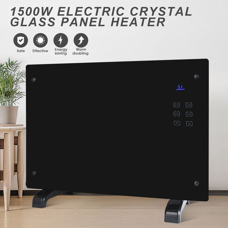 #tosimplyshop Electric Crystal Glass Flat Convector Heater Panel Heater Home Office Room Black #homedecor #crystal #home