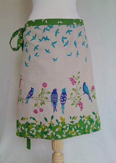 How about a skirt, or better yet, an apron from my beloved Echino Bird Song?