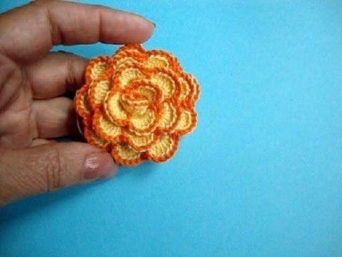 ▶ Вязаные крючком цветы How to crochet flower Урок 33 方法かぎ針編みの花へ - YouTube
