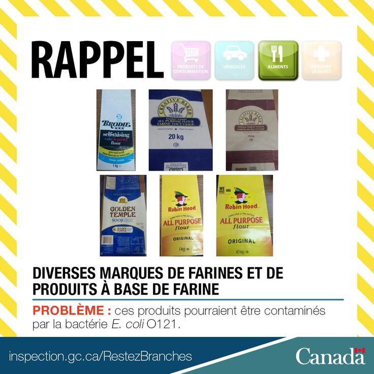 ❗ Rappel de diverses marques de farines et de produits à base de farine en raison de la bactérie E. coli O121 http://www.inspection.gc.ca/au-sujet-de-l-acia/salle-de-nouvelles/avis-de-rappel-d-aliments/liste-complete/2017-04-12/fra/1492038924857/1492038929165