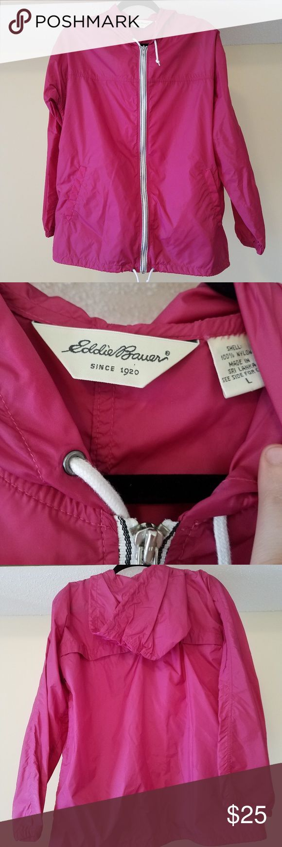 Eddie Bauer Raincoat / Jacket Large Eddie Bauer Raincoat / Jacket  Size: Large Material: Nylon  Beautiful magenta raincoat with a hood! This jacket was lightly used but looks new!  Please ask any and all questions prior to purchasing!  Happy Shopping! :) Eddie Bauer Jackets & Coats