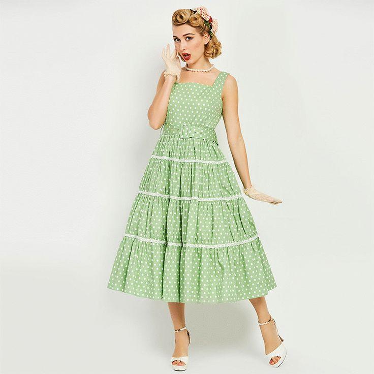 Women's Dress Vintage 1950s Rockabilly Party Green Polka Dots