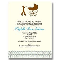 Big Brother Carriage Boy Baby Shower Invitations
