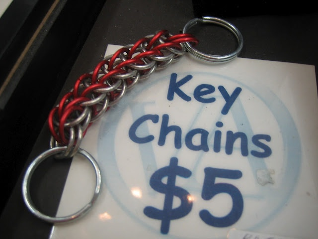Textures:a combined effort of area artisansa.k.a. Textures Craftworks  -chainmaille key chains by Rebecca Johnston - $5