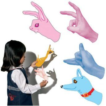 Shadow Puppet Cut-Outs Activity par Roylco.  Montre comment placer les mains pour former des animaux.