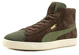 Puma Suede Mid X Bobbito Men Round Toe Suede Green Sneakers.