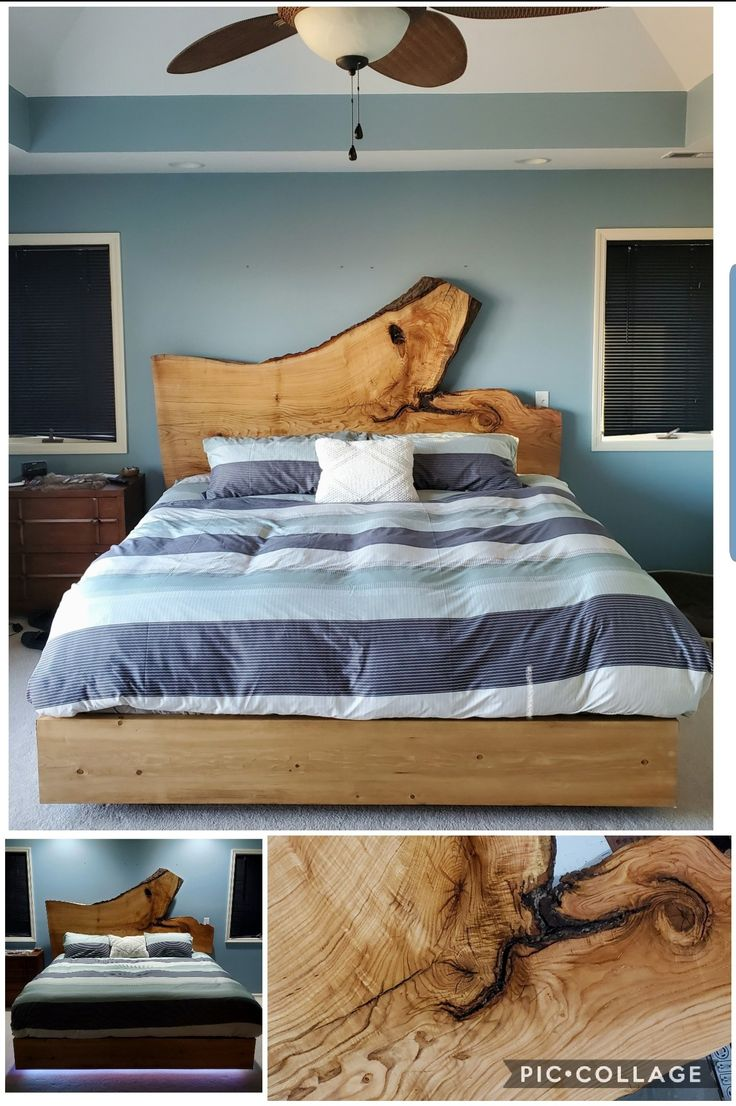 """Red oak live edge headboard thats about 90"""", floating king"""