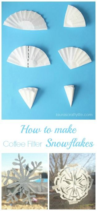Kid's Craft: Easy Paper Snowflakes. Easily make paper snowflakes with your kids using coffee filters. They make it easy for little fingers to cut the paper.
