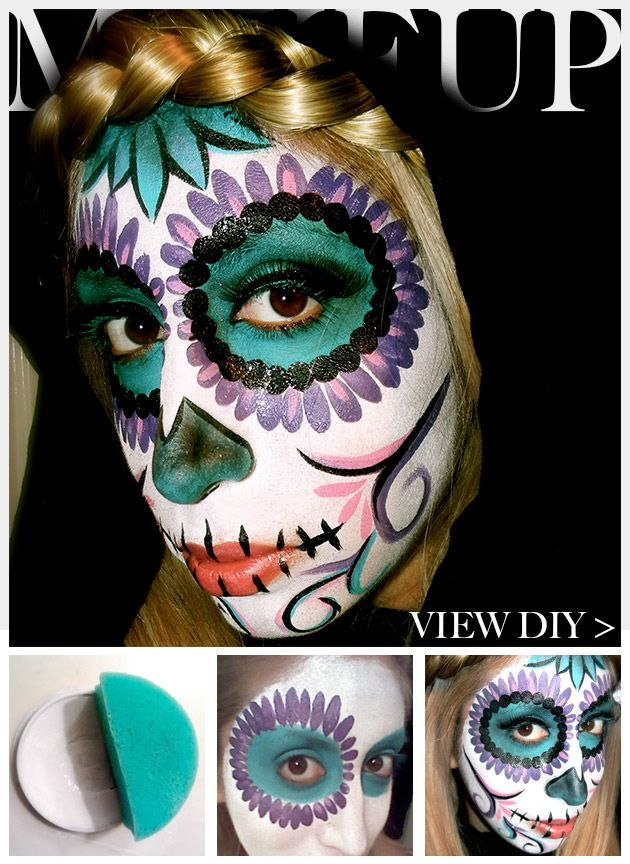 Day of the Dead Makeup Feature: good site to see some interesting colors!! I don't think it's the best artistically, but take ideas from each one and make it ur own!