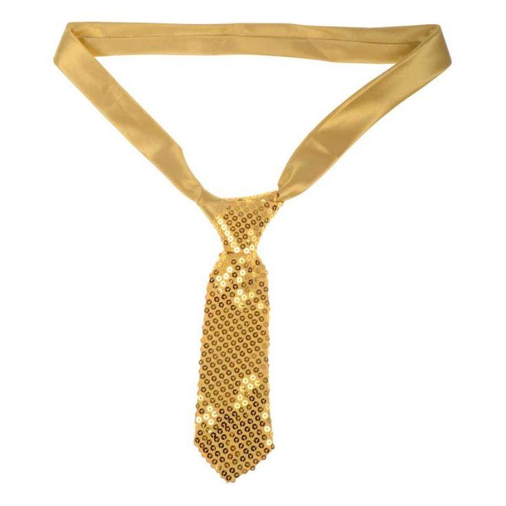 Metallic gouden stropdas met glitters.