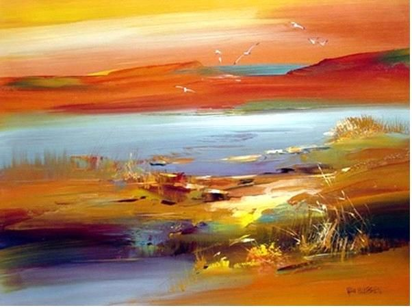 Not sure whether this is acrylic or water colour but I love the colours of this sunset or sunrise landscape