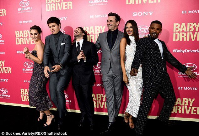 Star-studded cast: Baby Driver, which was directed by Edgar Wright (centre), stars Lily, Ansel Elgort, Jon Hamm,Eiza González and Jamie Foxx (left to right)