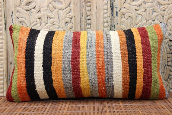 Nostalgic Handmade lumbar Kilim pillow cover by stripepattern