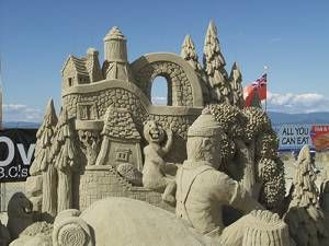 Sandcastle contest entry at Parksville beach, an amazing annual event from mid-July to mid-August. http://vancouverislandlife.com/pages/Detailed/By_Region/Central_Island/Parksville_Qualicum/Parksville_Beach_Festival_142.html