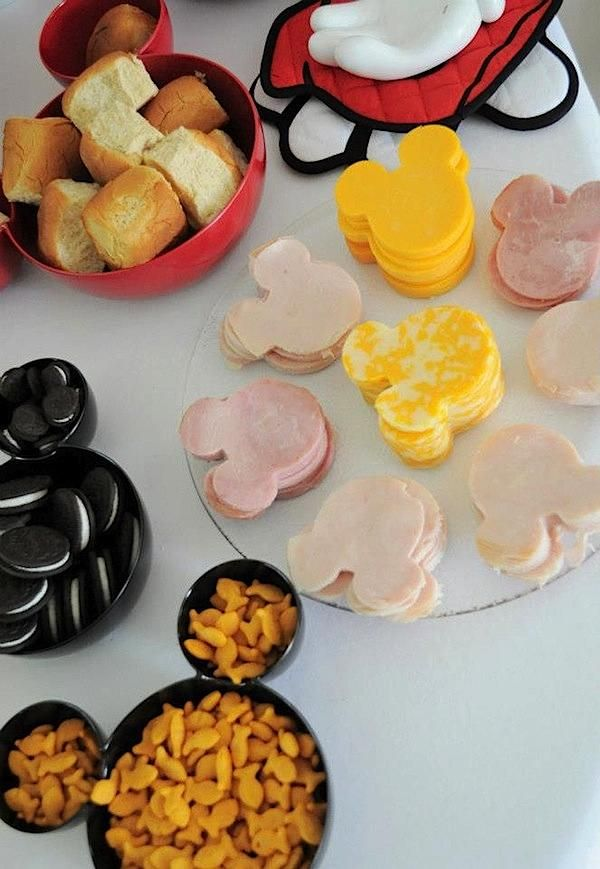 Mickey snack bowls... Mini meat and cheese sandwich mickeys!  I think you might have done this for SEB :)