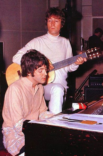 """John Lennon and Paul McCartney (John in rare """"no glasses"""" moment) Johns hair is Magical Mystery Tour which was partly DURING the Sgt Pepper LP Recording, so this is just after that --- hm... your mother should know?"""