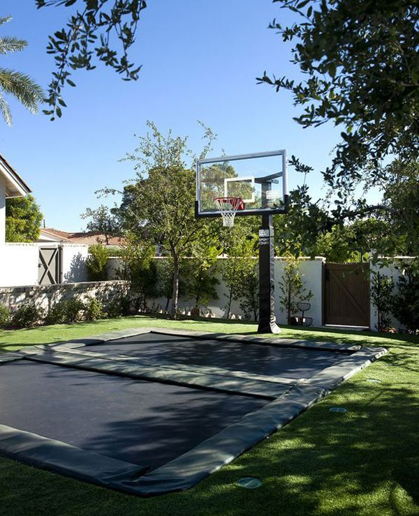 20 Coolest Basketball Court Ideas For Your Backyard Backyard Trampoline Backyard Trampoline