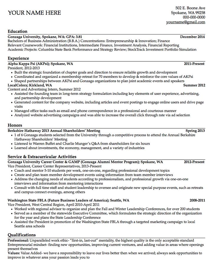 20 best Résumé Samples images on Pinterest Resume ideas, Gym and - university resume template
