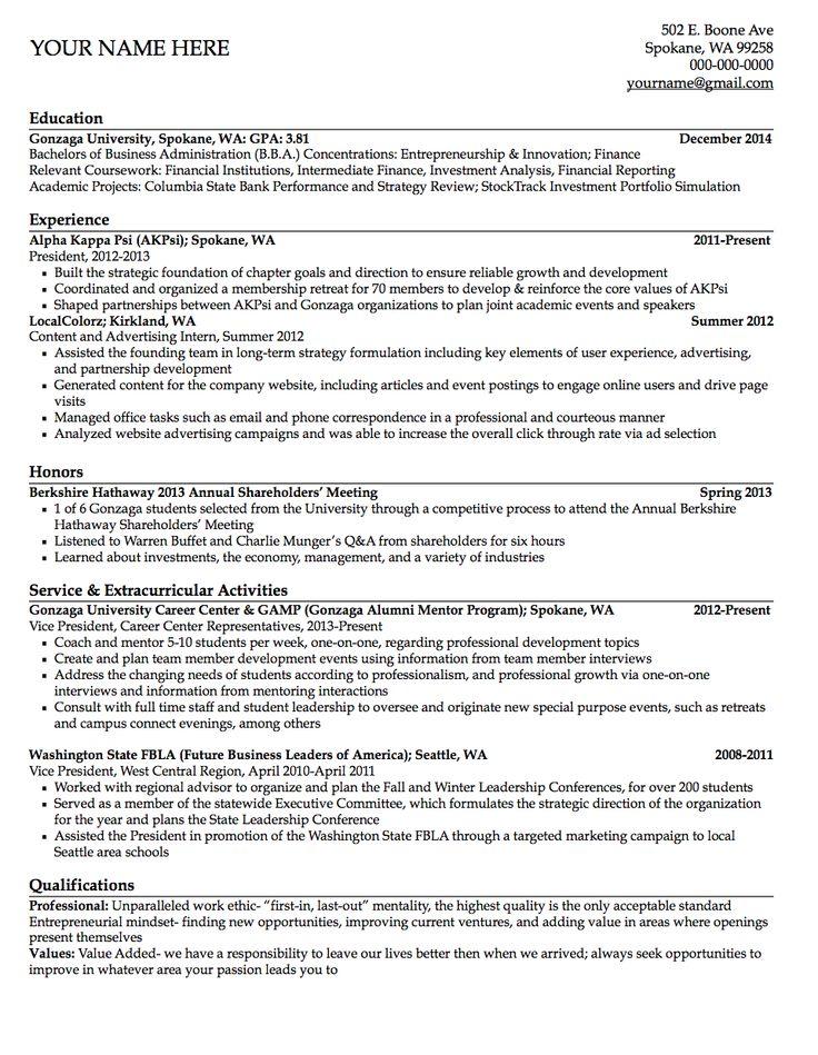 relevant coursework resume finance