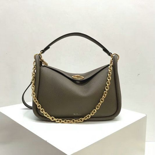 54dcc867bdd9 2018 Mulberry Small Leighton Bag in Solid Grey Small Classic Grain Leather
