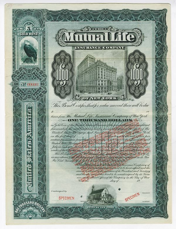 Mutual Life Insurance Company of New York With Gold Clause - New York, 1933, $1,000. 5% Gold Bond. Slate blue border and underprint with large impressive Mutual Life building in middle, small building on bottom and impressive eagle in left border area. Specimen with POC's and coupons, VF condition with toning and a couple soiled areas due to handling, but impressive looking certificate. Extremely rare legend printed in red in middle only seen on railroad bonds before this piece. The legend…