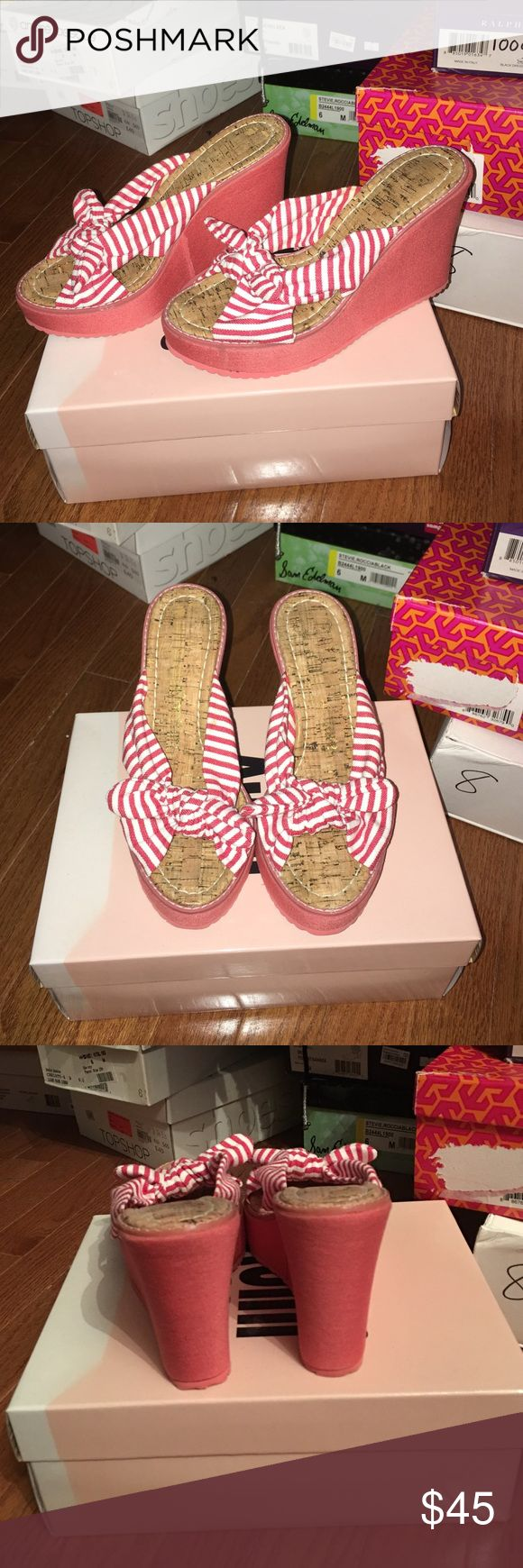 """Juicy Couture Red Striped Wedges. Size 6 Juicy Couture wedges in size 6. Red and white striped tie details. Wedge is 4"""" at tallest point with a 1"""" front platform. Great condition. Purchased at Bloomingdales. Comes with original box. Juicy Couture Shoes Wedges"""