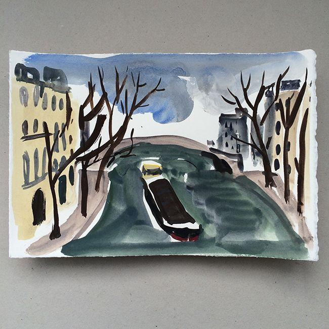 Along the Seine. Gouache.