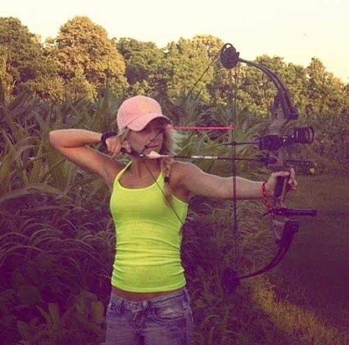 Hot girl shooting bow little girls