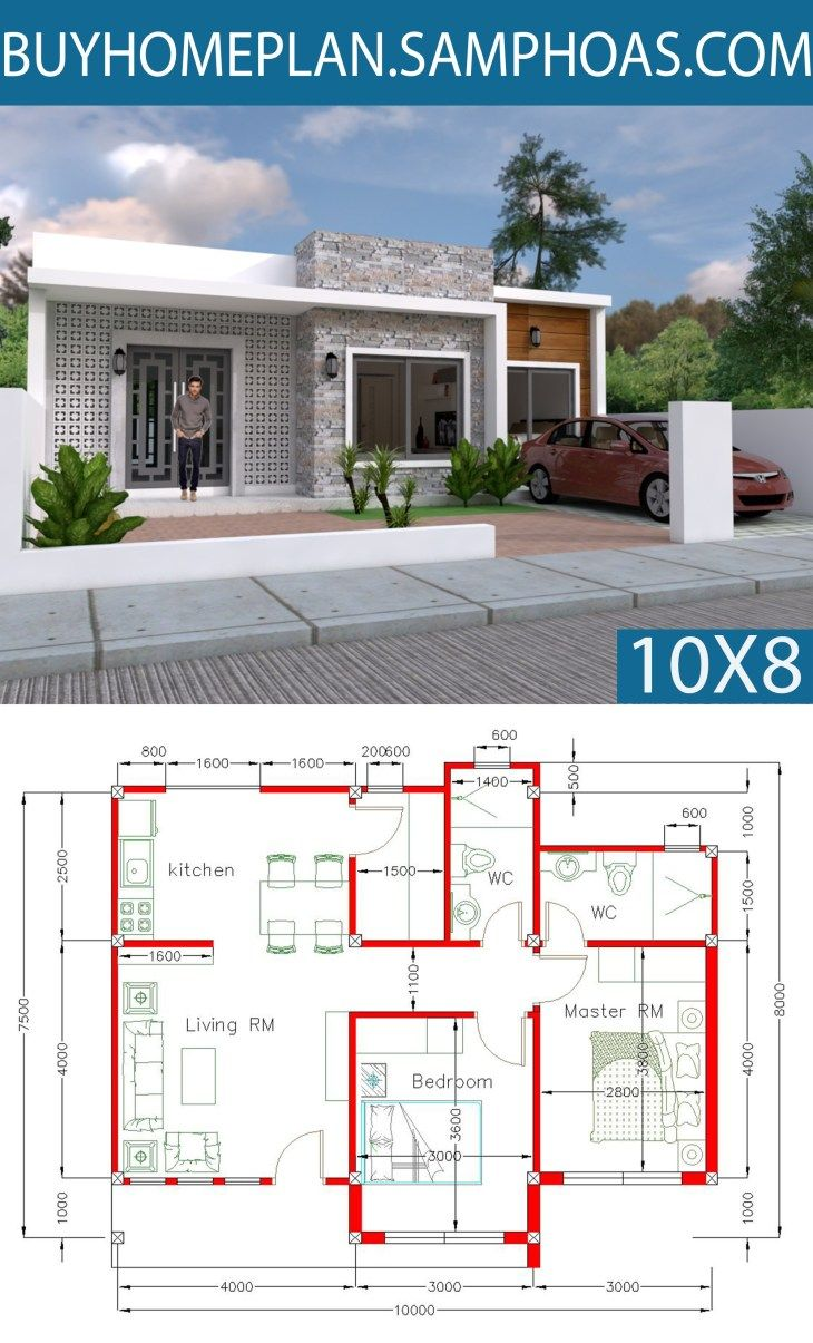 Simple Home Design Plan 10x8m With 2 Bedrooms Bungalow House