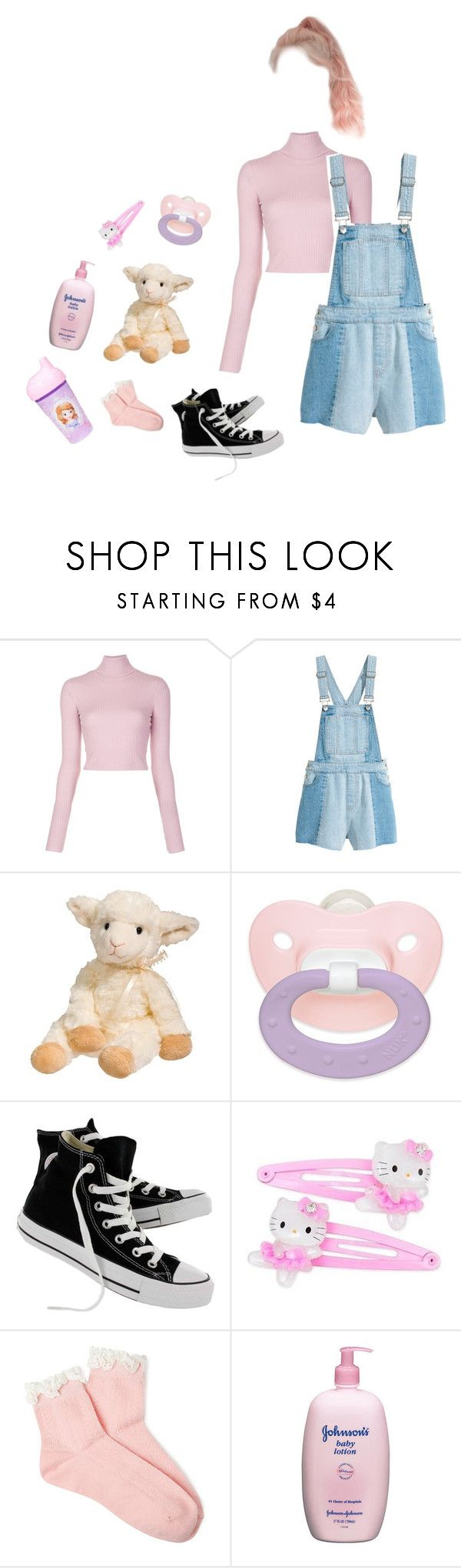 """""""• mommys little girl •"""" by grungebabydoll1 ❤ liked on Polyvore featuring A.L.C., Converse, Hello Kitty, Forever 21, Johnson's Baby, Disney, BabyGirl, little, mommy and littlespace"""