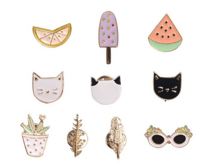 2016 metal button gold brooch Cartoon fruits small brooch Sweater Brooches pin Accessorries jewelry broches bovvsky Fashion