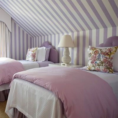 via dwellingsanddecor on tumblr--cute palatte for a girl's bedroom--lavender, orchid and white