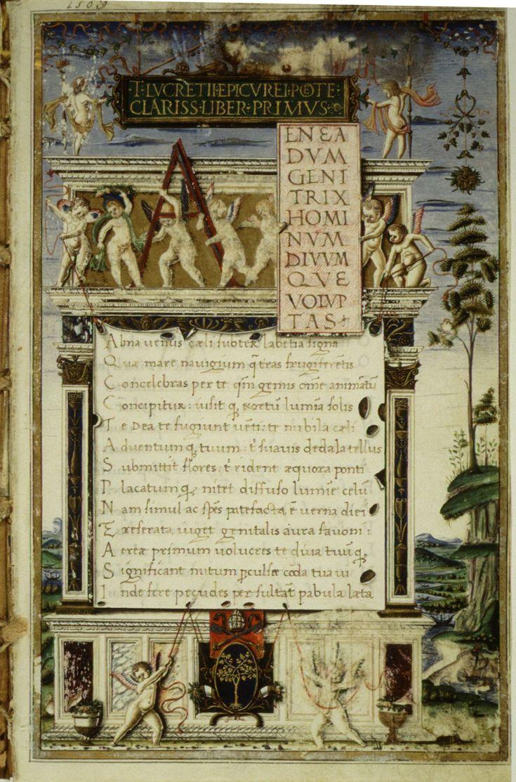 Opening of De rerum natura, 1483 copy by Girolamo di Matteo de Tauris for Pope Sixtus IV