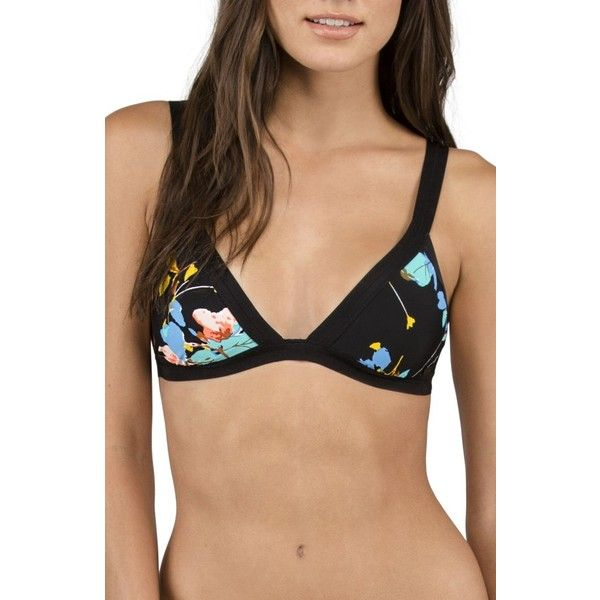 Women's Volcom Buds Forever Triangle Bikini Top ($41) ❤ liked on Polyvore featuring swimwear, bikinis, bikini tops, black, triangle bikinis, triangle swim top, tankini tops, triangle bikini top and volcom swimwear
