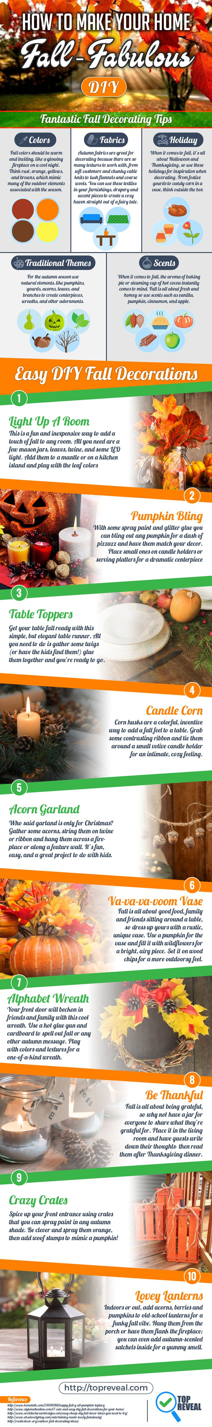 Capturing that fall-feeling in your home is easier than ever with our handy #Fall #DIY #Infographic. Many people want that just-baked apple pie scent when friends and family come to visit but don�t know where to start.   Lucky for them, and you, we do and we�re sharing it all right here. We�ll explain why certain colors, like burnt orange and cream, can instantly take a space from spring to fall and tell you what scents you need to stock up on.   Read on to learn all that and more!