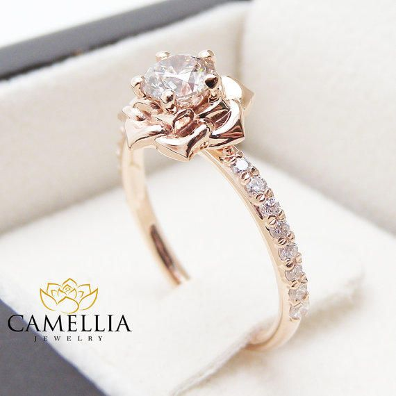Flower Rose Unique Engagement Ring Right Hand Diamond Ring 14K Rose Gold Band Special Gift from camellia jewelry. Saved to Unique Engagement Ring.