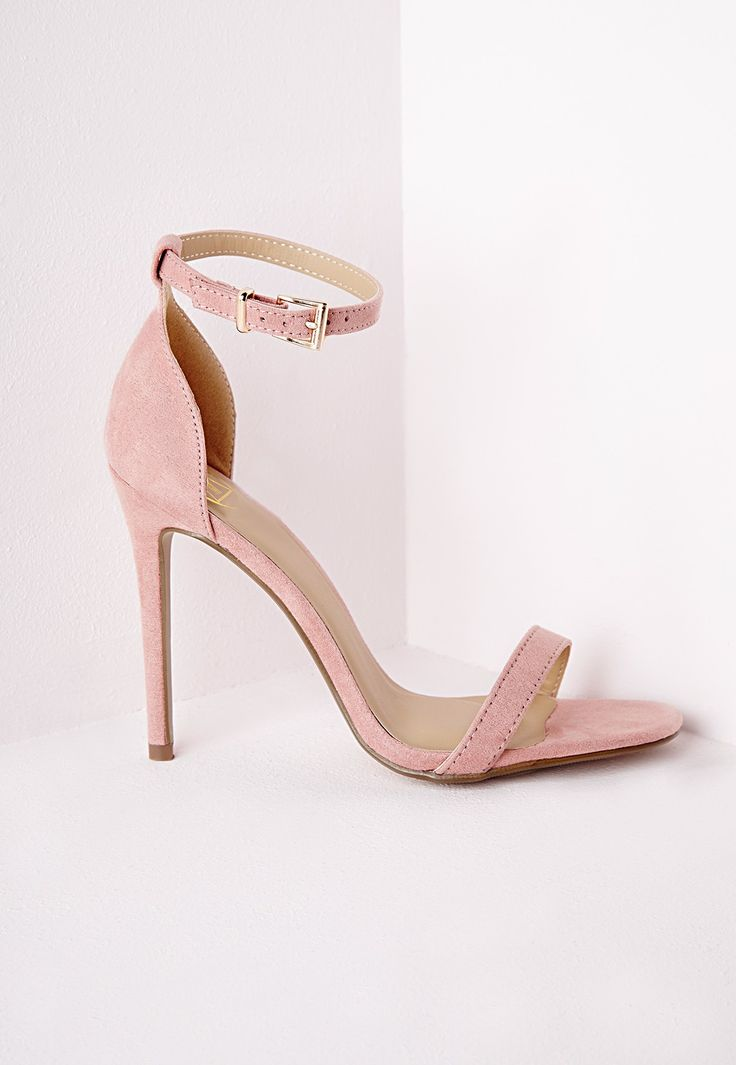 Barely There Strappy Heeled Sandals Rose - Shoes - Missguided
