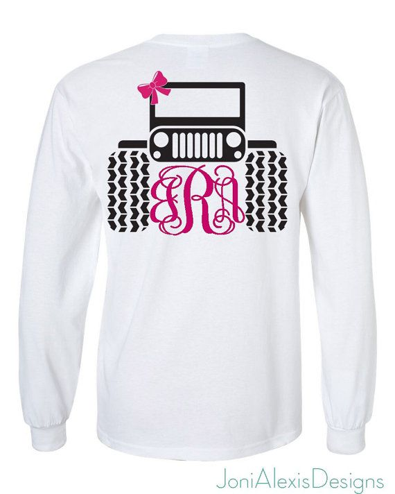 Jeep Shirt Jeep Monogram With Bow T Shirt by JoniAlexisDesigns