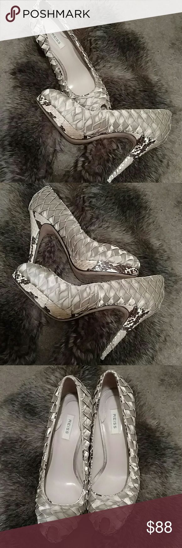 """REISS high heels shoes New quilted REISS shoes, 4.5"""" heels. The sides and heels are snakeskin python leather. Reiss Shoes Heels"""
