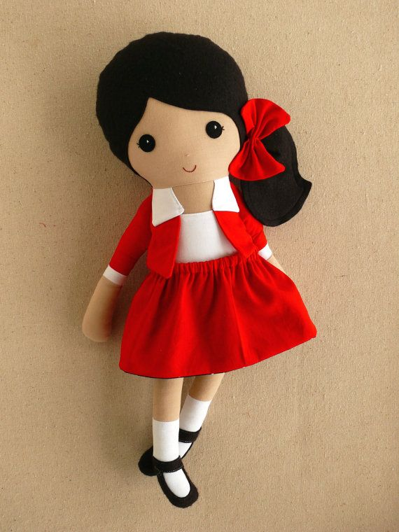 Reserved for Amy Fabric Doll Rag Doll Black Haired by rovingovine