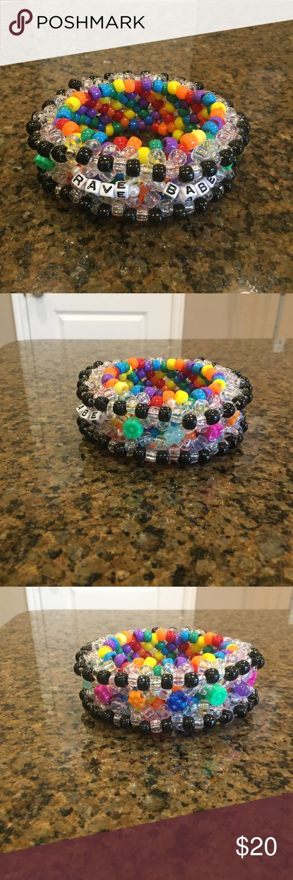 "Rave babe kandi cuff Rainbow, flower, ""rave babe"" kandi cuff ✨ festival/rave wear Accessories"