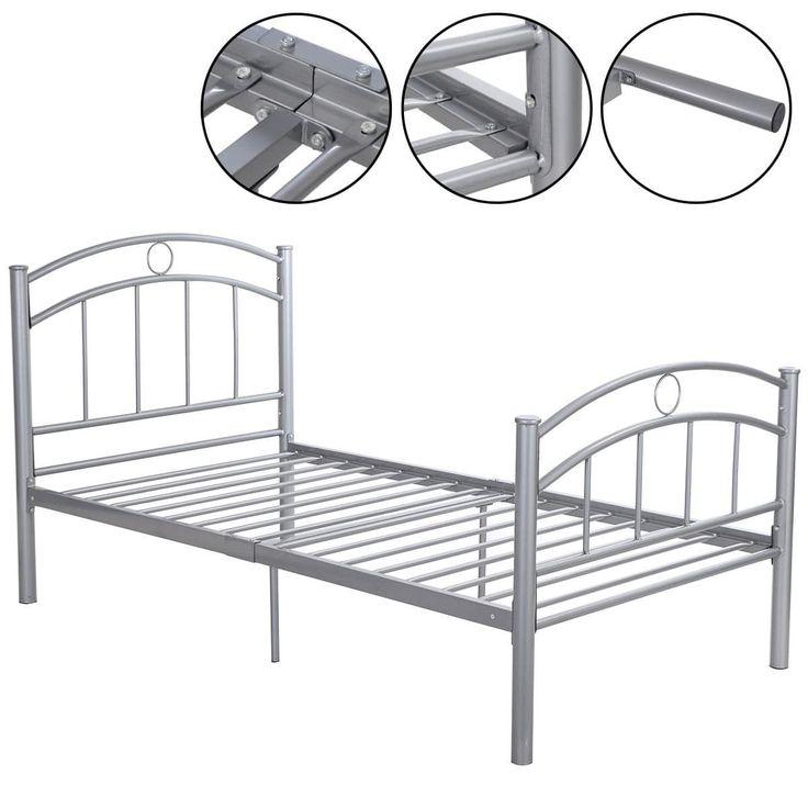 costway black metal bed frame platform twin