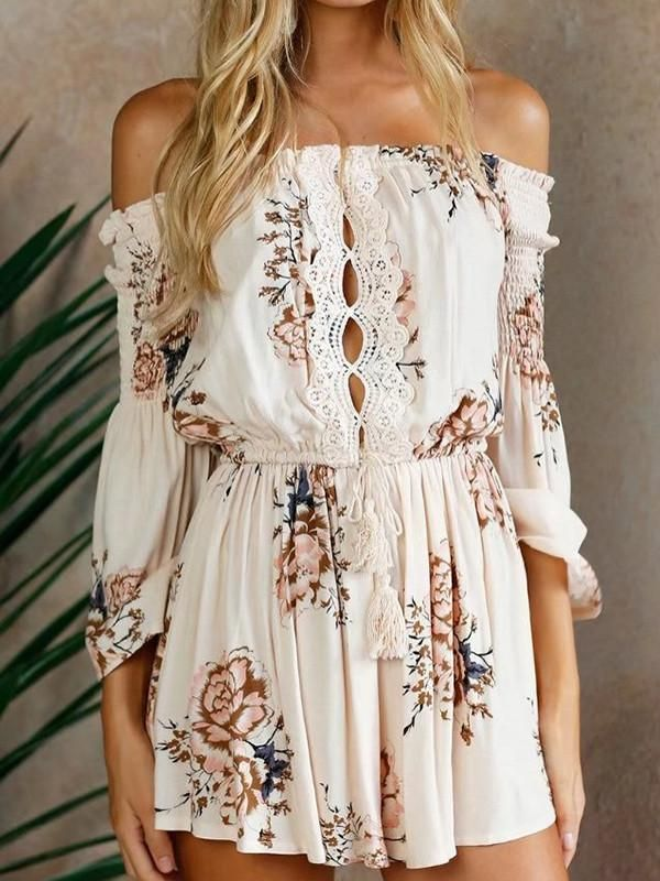 c1772bec5fdb Beautiful Floral-Print Long Sleeve Off-Shoulder Lace-Up Short Jumpsuits