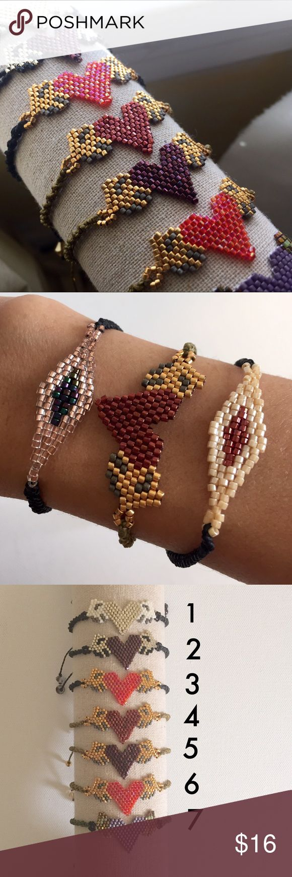 Gorgeous Hand Made Corazon Con Alas Bracelet *Hand made from artisans of Jalisco, Mexico.         *Great for yourself or as a gift.                                 *Huichol Art.                                                                *Bracelet is adjustable                                                *Made of waxed thread and fine beads.                   *Swarovski crystals.                                                     *Price is FIRM Jewelry Bracelets
