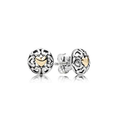 Capri Jewelers Arizona ~ www.caprijewelersaz.com  PANDORA two-tone openwork heart earrings from the new Mother's Day collection. $80 #PANDORAearrings #SS14 #PerfectGift