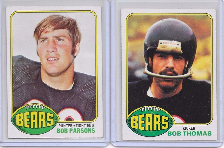 Chicago Bears NFL 2 Card Lot 1976 Topps #306 Bob Parsons and #258 Bob Thomas #ChicagoBears