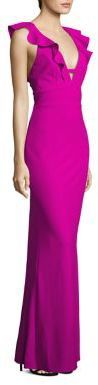 ABS Ruffled V-Neck Gown on sale $140 Saks Fifth Avenue
