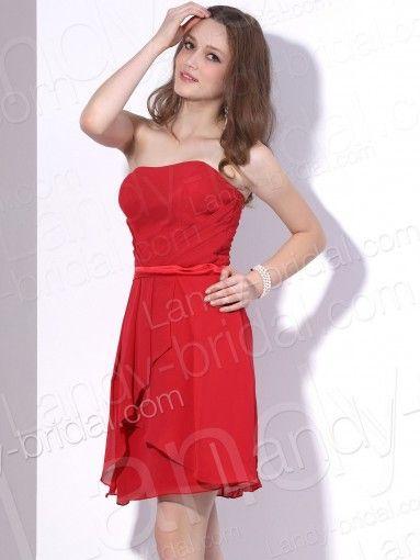 Sheath Column Strapless Short Chiffon Red Party Dress Pr2598
